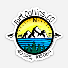 Fort Collins Compass Vinyl Sticker - June Poppies Designs