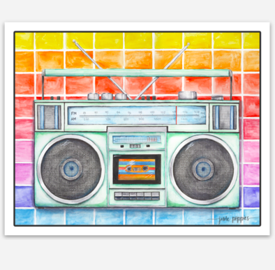 Boombox Vinyl Sticker - June Poppies Designs