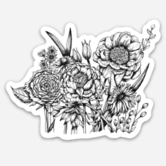 Black and White Flowers Vinyl Sticker - June Poppies Designs