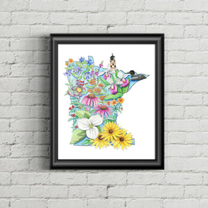Floral State of Minnesota Art Print - June Poppies Designs