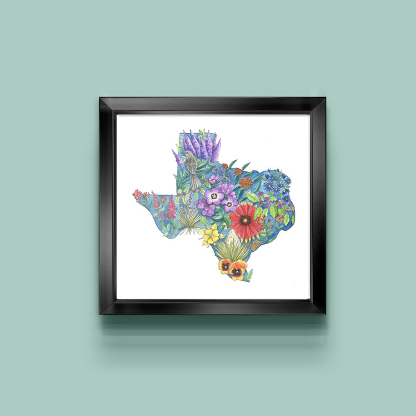 Floral State of Texas Art Print - June Poppies Designs
