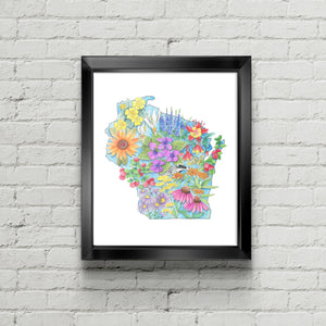Floral State of Wisconsin Art Print - June Poppies Designs