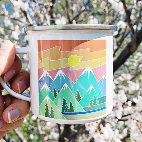 Sunset Mountain Enamelware Mug - June Poppies Designs