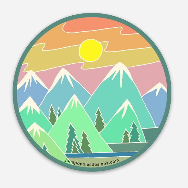 Mountain Sunset Vinyl Sticker - June Poppies Designs