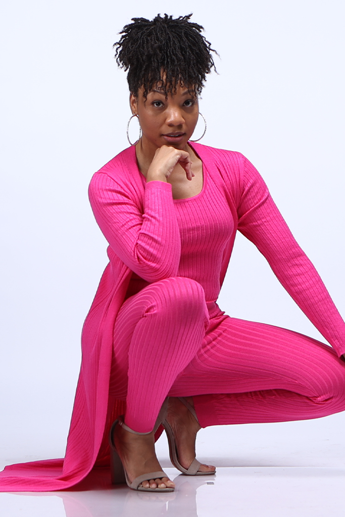 Hot Pink 3-Piece Ribbed Knit Set