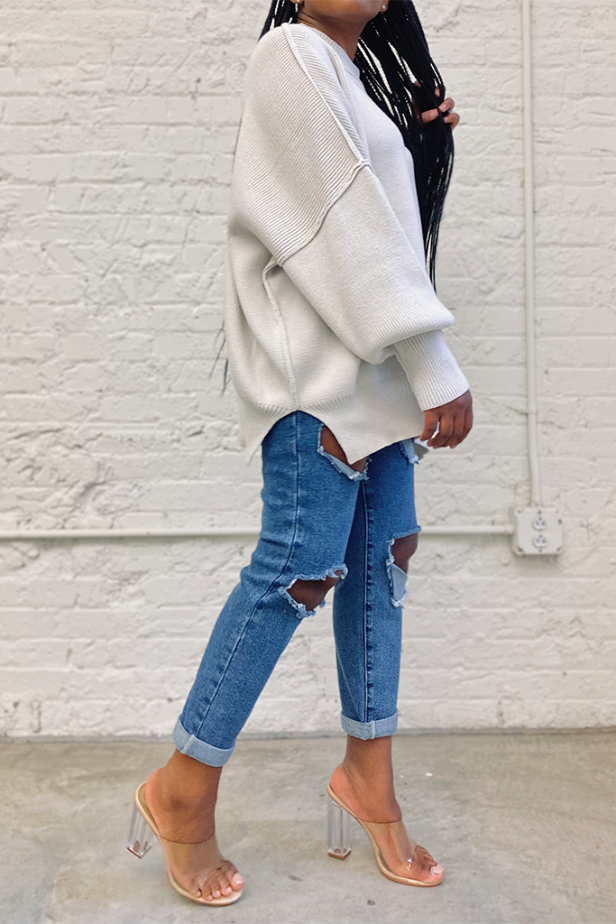 Oversized Knit Sweater | Bone