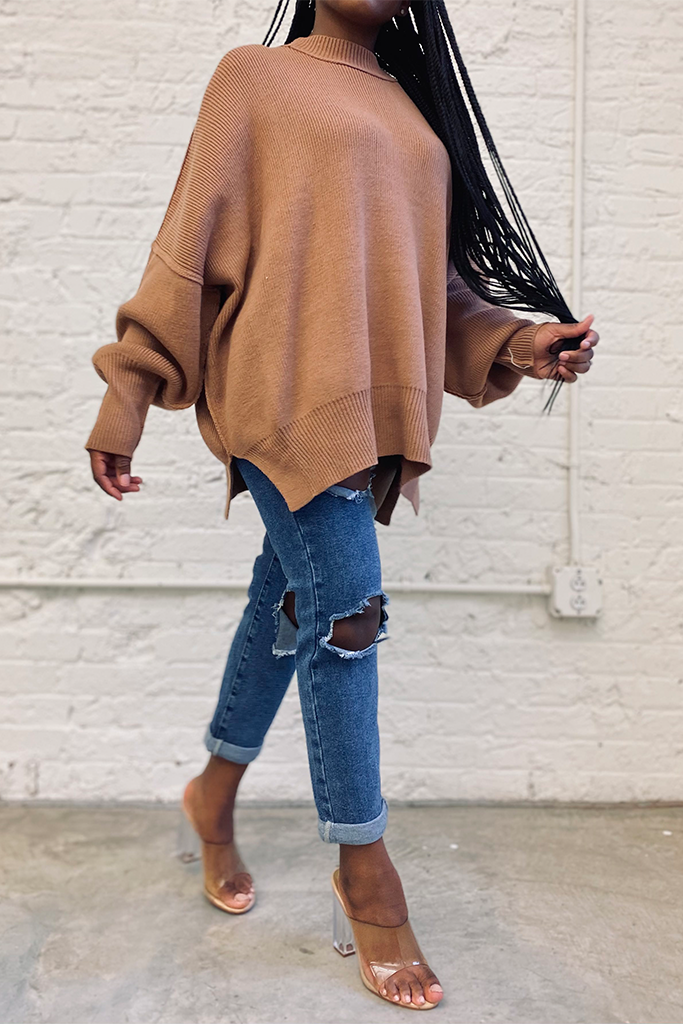 Oversized Knit Sweater | Deep Camel