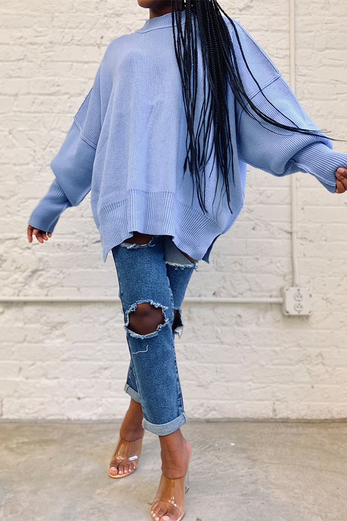 Oversized Knit Sweater | Spring Blue