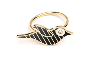 Gold and Black Striped Enamel Bird Ring