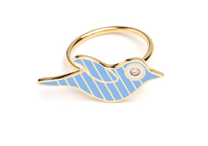 Gold and Blue Striped Enamel Bird Ring