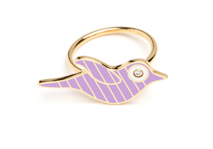 Gold and Lavender Striped Enamel Bird Ring
