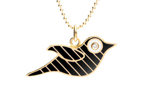 Gold and Black Striped Enamel Bird Necklace
