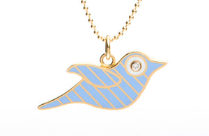 Gold and Blue Striped Enamel Bird Necklace