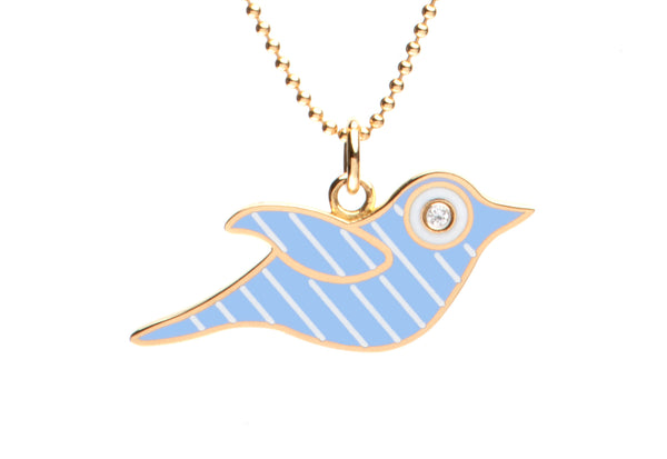 Blue and White Stripe Enamel Bird Necklace