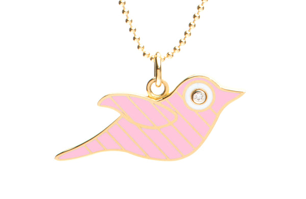 Gold and Pink Striped Enamel Bird Necklace