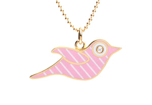 Pink and White Stripe Enamel Bird Necklace