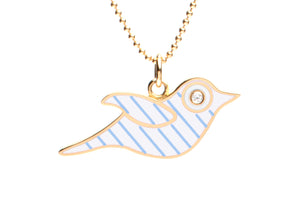 White and Blue Stripe Enamel Bird Necklace