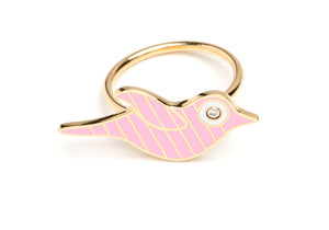 Gold and Pink Striped Enamel Bird Ring