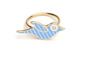 Blue and White Striped Enamel Bird Ring