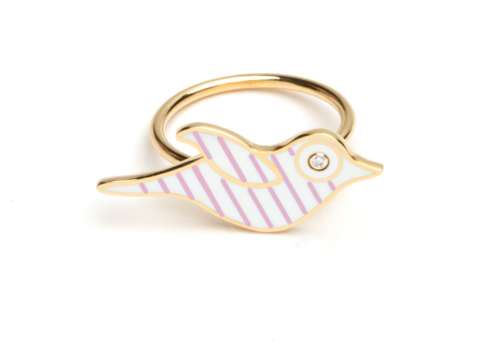 White and Lavender Striped Enamel Bird Ring