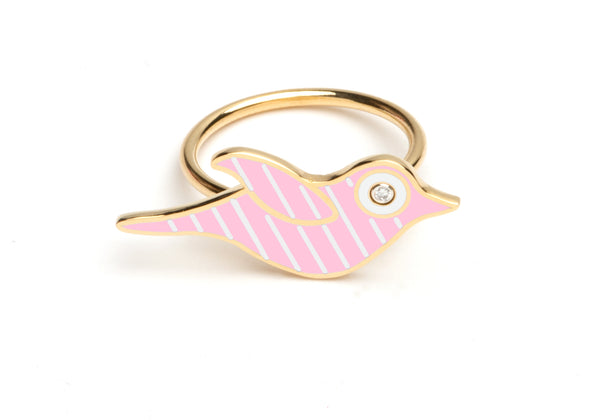 Pink and White Striped Enamel Bird Ring