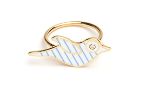 White and Blue Striped Enamel Bird Ring