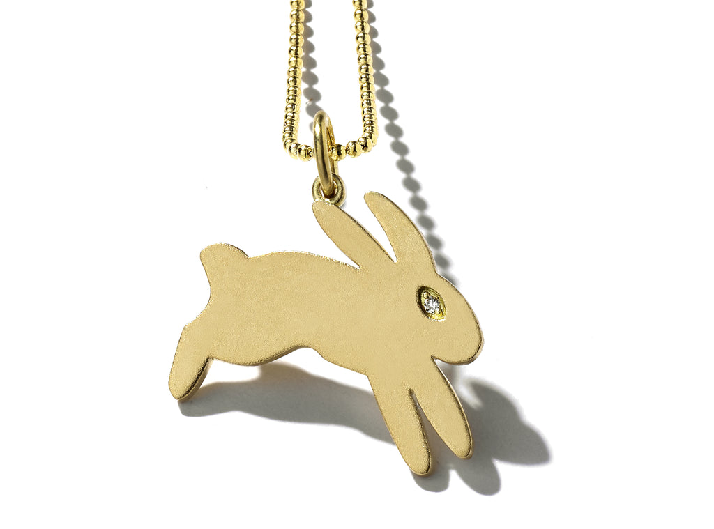 """Bisou"" Gold Bunny Necklace"
