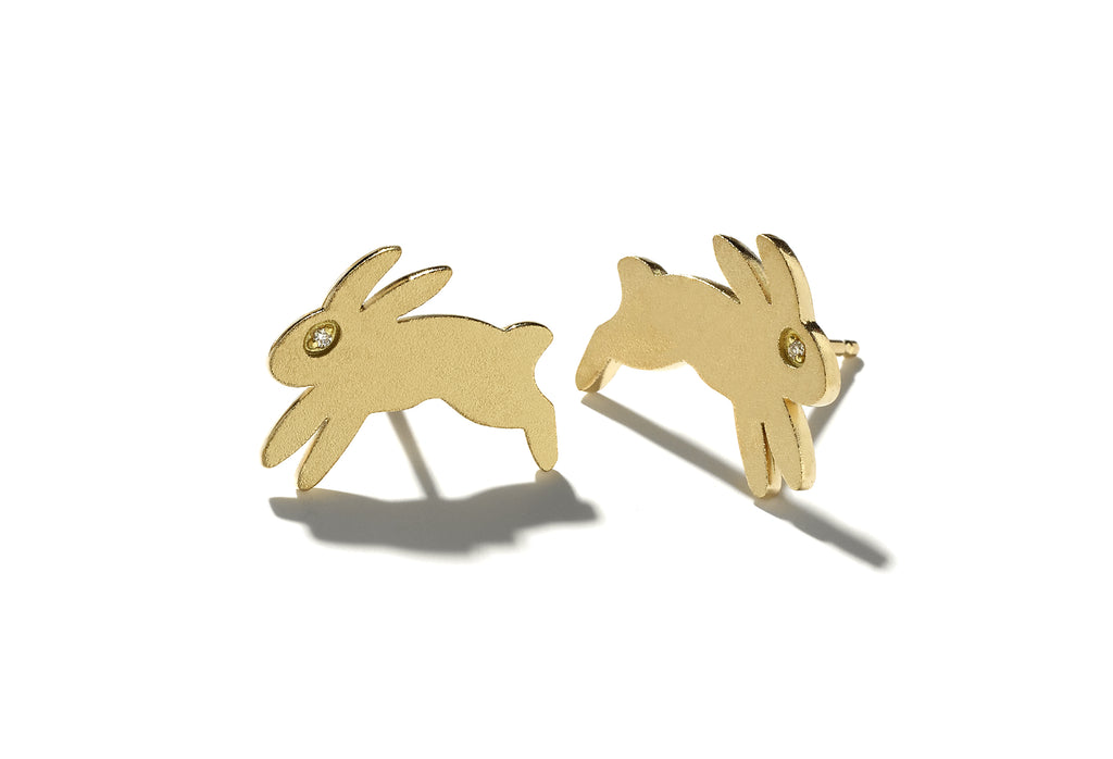 """Bisou"" Gold Bunny Earrings - Studs"