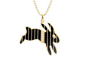 Gold and Diamond Stripe Black Enamel Bunny Necklace