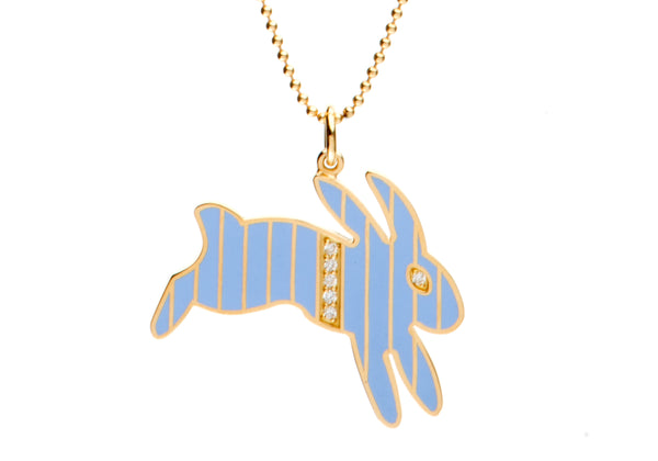 Gold and Diamond Stripe Blue Enamel Bunny Necklace