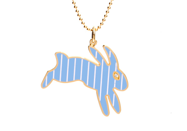 Blue and White Stripe Enamel Bunny Necklace