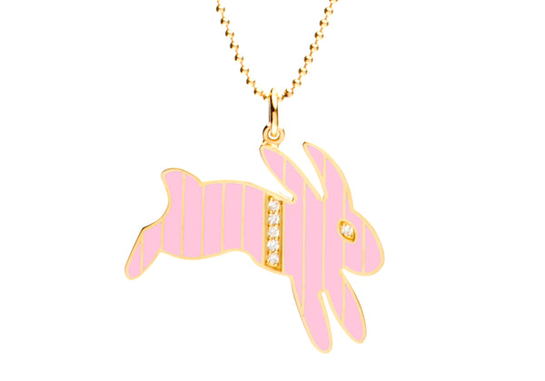 Gold and Diamond Stripe Pink Enamel Bunny Necklace