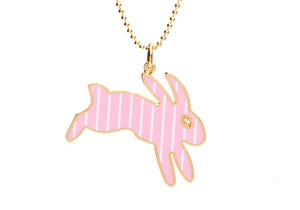 Pink and White Stripe Enamel Bunny Necklace