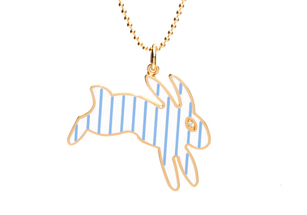 White and Blue Stripe Enamel Bunny Necklace