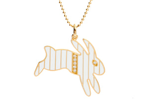 Gold and Diamond Stripe White Enamel Bunny Necklace