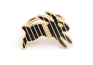 Gold and Diamond Stripe Black Enamel Bunny Ring