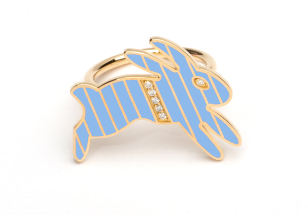 Gold and Diamond Stripe Blue Enamel Bunny Ring
