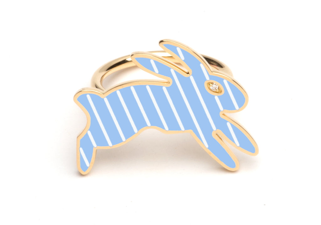 Blue and White Striped Enamel Bunny Ring
