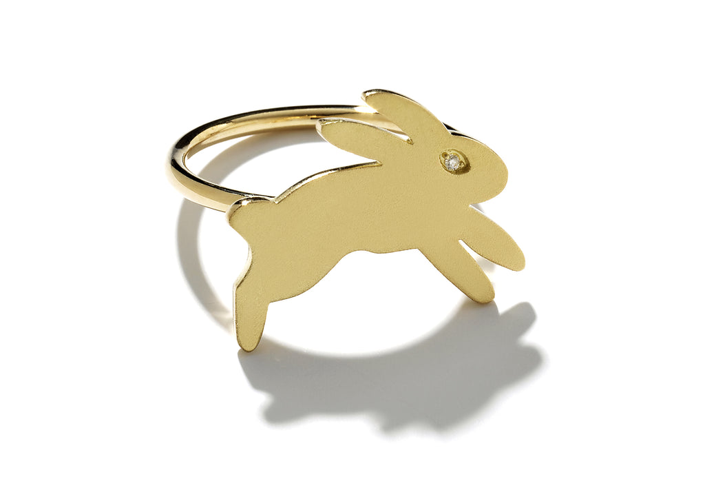"""Bisou"" Gold Bunny Ring"