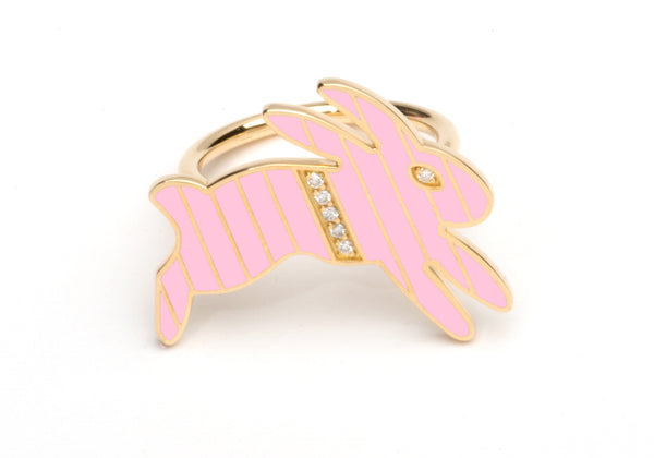Gold and Diamond Stripe Pink Enamel Bunny Ring