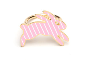 Pink and White Striped Enamel Bunny Ring