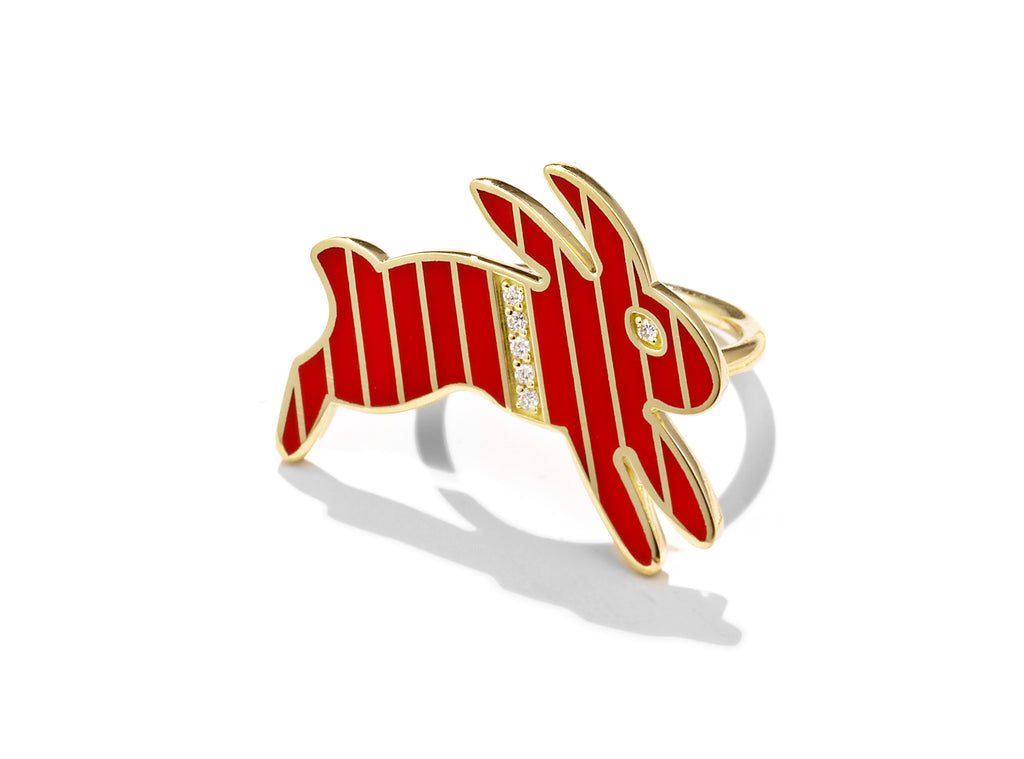 Gold and Diamond Stripe Vermilion Enamel Bunny Ring