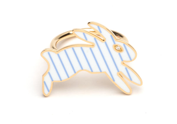 White and Blue Striped Enamel Bunny Ring
