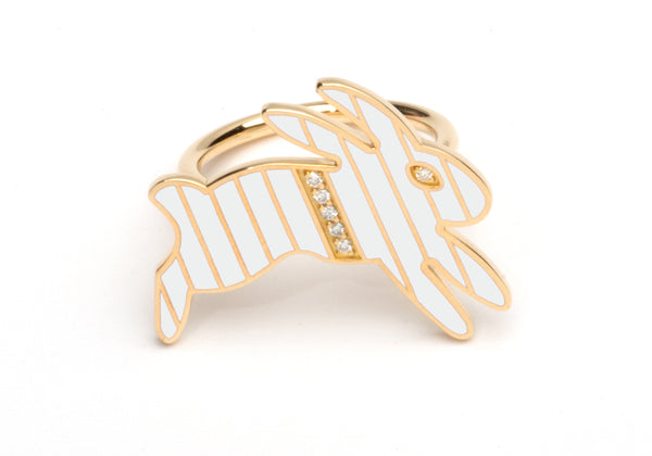Gold and Diamond Stripe White Enamel Bunny Ring