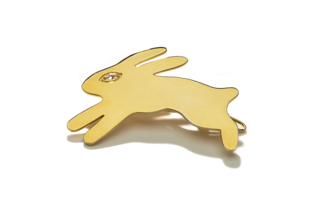Gold Evil Eye Bunny Barrette