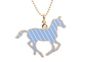 Blue and White Stripe Enamel Pony Necklace