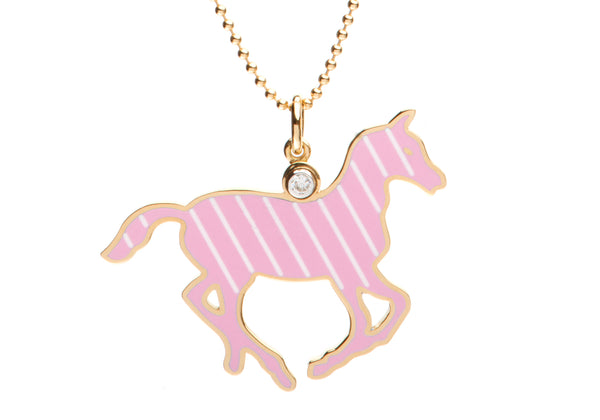 Pink and White Stripe Enamel Pony Necklace