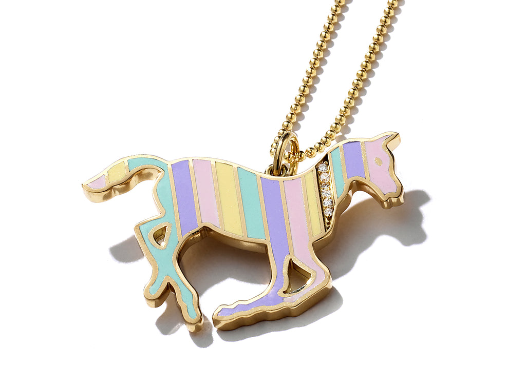 Gold and Diamond Stripe Rainbow Enamel Pony Necklace