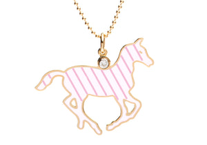 White and Lavender Stripe Enamel Pony Necklace