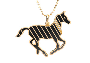 Gold and Diamond Stripe Black Enamel Pony Necklace